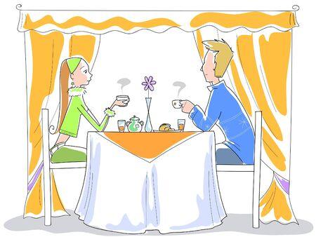 pareja comiendo: Una joven pareja se está comiendo el desayuno