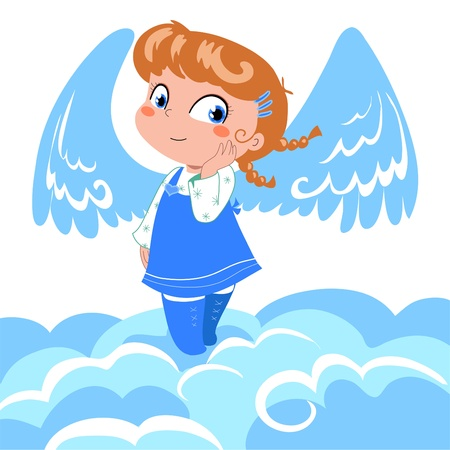 angel girl: Cute angel with wings on clouds.
