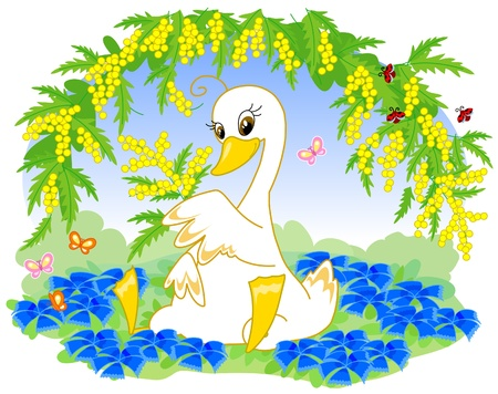 Cute duck with mimosa and blue flowers. Romantic illustration for Woman Illustration