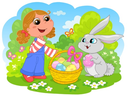flower basket: Cute girl with easter bunny and decorated eggs.  Illustration