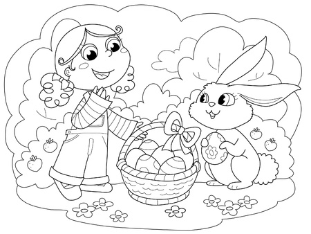 Cute young girl with easter bunny and decorated eggs. Coloring illustration for kids.