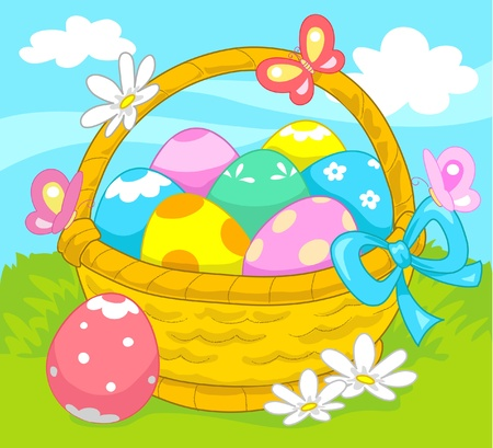 Basket of decorated Easter eggs. Stock Vector - 10988110