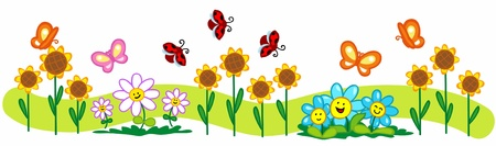 Cartoon spring illustration: a line of flowers, cute butterflies and ladybirds.