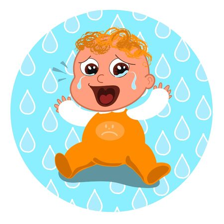 unsatisfied: Sad baby crying. Vector illustration.