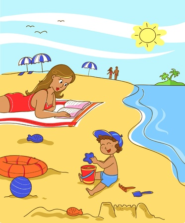 Child playing with the sand at the beach while his mother is reading a book. Vector.