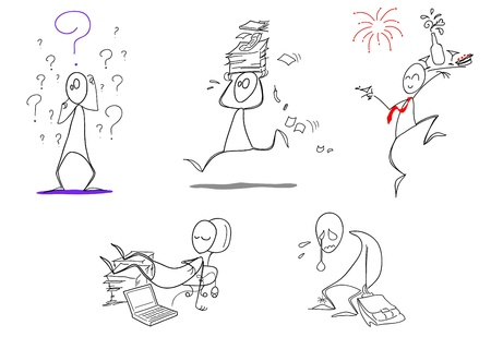 Humorous icons: doubt, busy work, happy new year, lazy and fired! Vector icons 일러스트