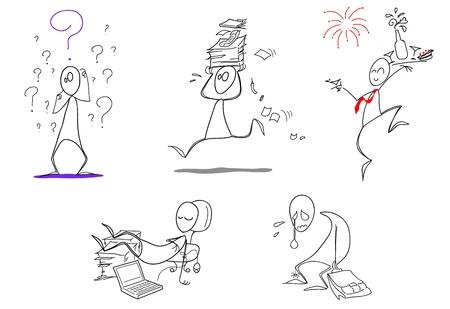 Humoristische pictogrammen: twijfel, drukke werkzaamheden, Gelukkig Nieuwjaar, lui en ontslagen! Vector pictogrammen