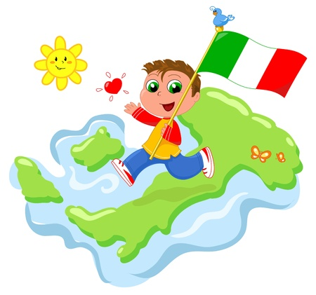 Happy child with flag and map of Italy. Cartoon vector. Vector