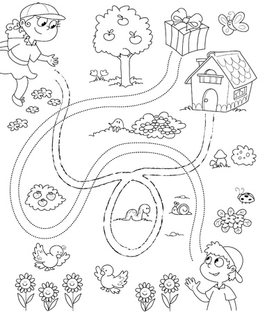 Black and white game for children: a boy and a girl have to follow the right way. Vector. 일러스트