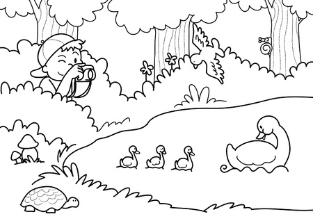 A young boy is shooting photos of a group of ducks. Black and white illustration.