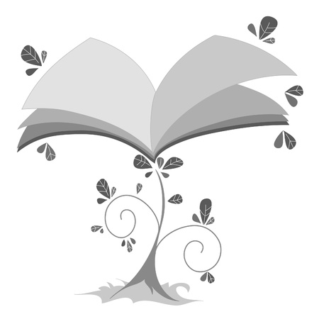 Black and white digital illustration. A plant in the shape of a book.