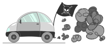 Pirate car with a lot of grey smog. Vector illustration. 일러스트