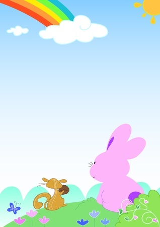 Cute squirrel and pink rabbit looking at the rainbow. Vector cartoon for children.
