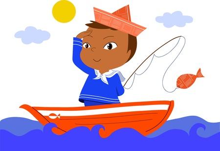 рыбаки: Молодой матрос на красной лодке. Вектор мультфильм для детей.