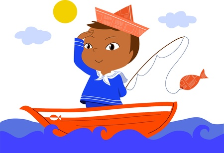 cartoon fishing: Young sailor on red boat. Vector cartoon for kids.