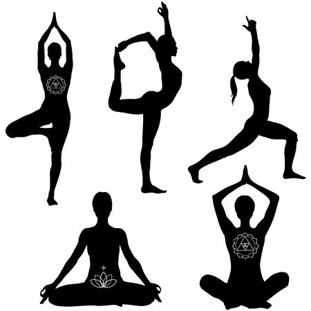 Yoga poses: lotus, lord of the dance, warrior I and tree pose. Black icon set.