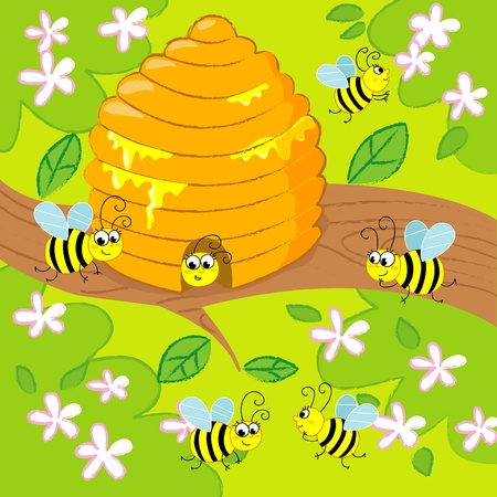 Cartoon beehive with flying happy bees in spring. image for kids.