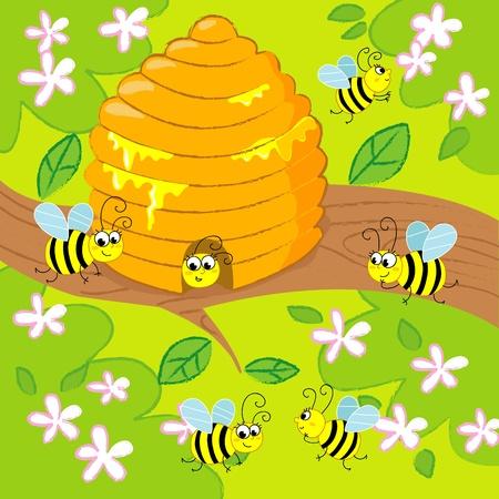 abeja caricatura: Cartoon colmena con abejas volando feliz en primavera. la imagen para los ni�os.