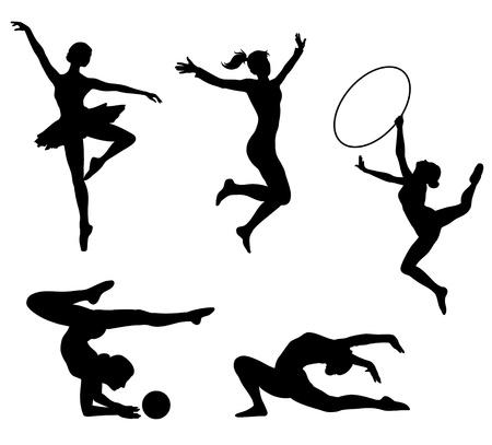 gymnastik: Sportive flickor svarta ikoner. bilden.