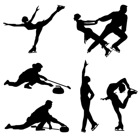 Ice skaters and curler black icons. images.