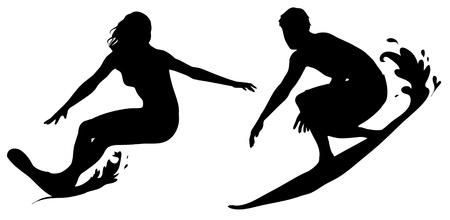 chica surf: Surfista masculino y femenino. Icono negro.