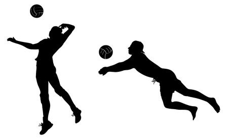 pelota de voley: Jugadores de voleibol iconos negros. imágenes prediseñadas.
