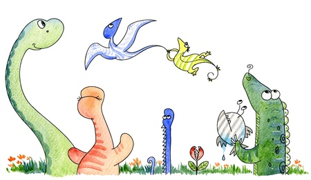 A cute funny group of strange animals from the jurassic age  Watercolor  photo