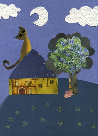 A cute cat on a house in the night sky is looking at the moon  Collage hand made with different pieces of printed paper Stock Photo - 12888460