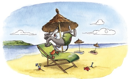 sunbath: Humorous illustration of a mouse at the beach with a crab that pinches the tail. Traditional watercolor on rough paper. The texture of paper, granulation of pigments and smooth shades are visible.
