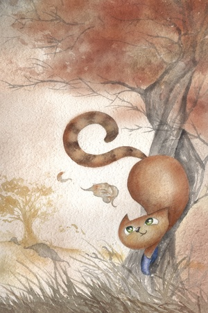 Puss in boots. Cute watercolor of the fairy tail cat. photo