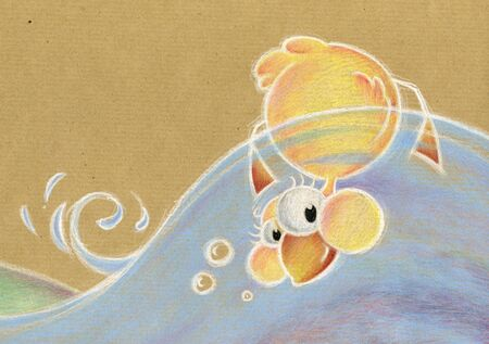 A yellow happy duck is swimming upside down. illustration hand made with coloured pencil on brown paper. illustration