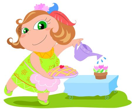 over sized: Happy housewife doing watering flowers and cooking. Digital illustration.