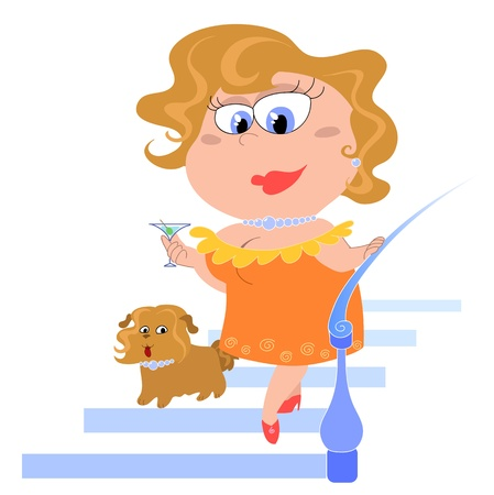An elegant lady is coming down the stairs with a cocktail glass in hands and her dog. Cartoon digital illustration. Stock Illustration - 11549540