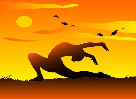 A young girl practising yoga in the sunset.  photo