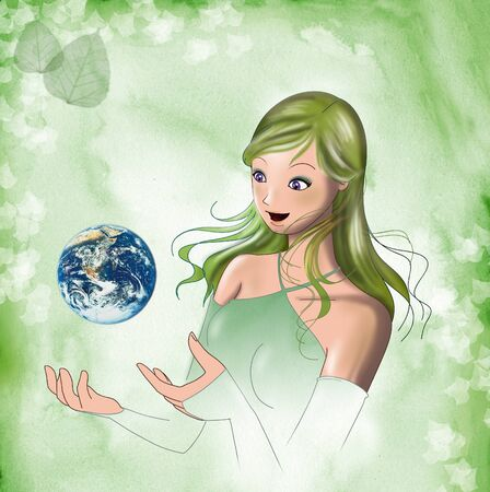 A beautiful girl with the world in her hands. Digital illustration. illustration