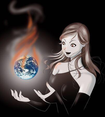 evil girl: Una ragazza molto male con il mondo nelle sue mani. Concetto di riscaldamento globale.
