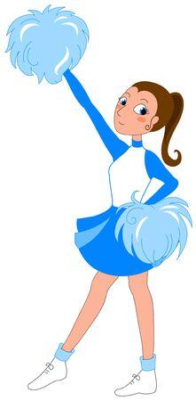 pom pom: Young Cheerleader in blue. Digital illustration.