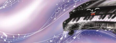 black piano: Cartoon piano playing music. Digital illustration for kids. Stock Photo