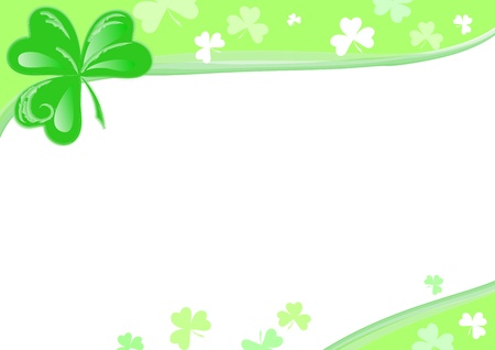 three leaf clover: St Patrick day: page with Three Leaf Clover. Stock Photo