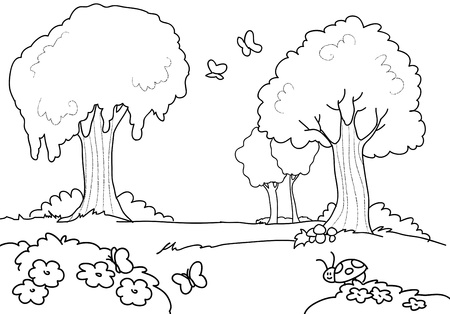A wood with butterflies, flowers and trees. Coloring illustration. illustration