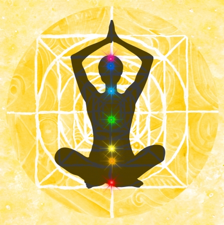 Lotus meditation pose with hands up in prayer. Padmasana with colored chakra points.