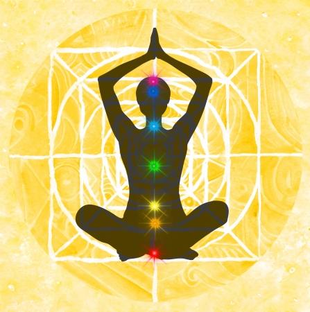chakra: Lotus posture de m�ditation avec les mains dans la pri�re. Padmasana avec des points de chakra de couleur.