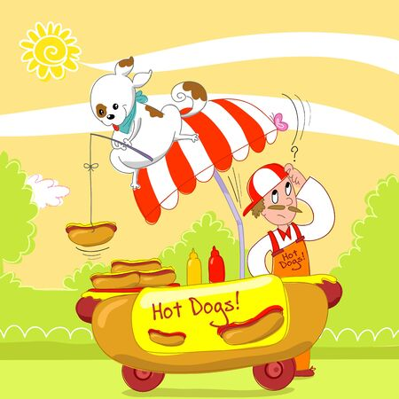 hot dog: A dog is fishing an hot dog from a cart in the street. Humorous digital illustration.