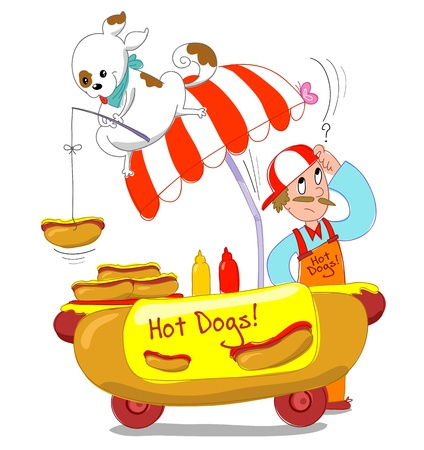A dog is fishing an hot dog from a cart. Humorous Isolated image.