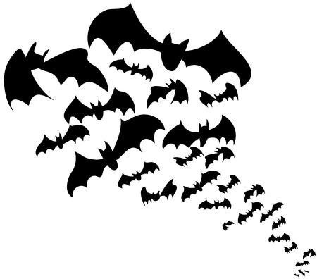 Flock of bats. Halloween decoration in black.
