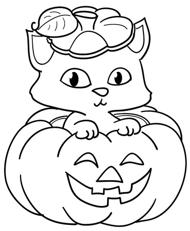 Cute cat in a Halloween pumpkin. Coloring illustration for kids. 스톡 콘텐츠