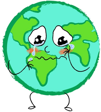 faccia disperata: Piangere triste pianeta Terra