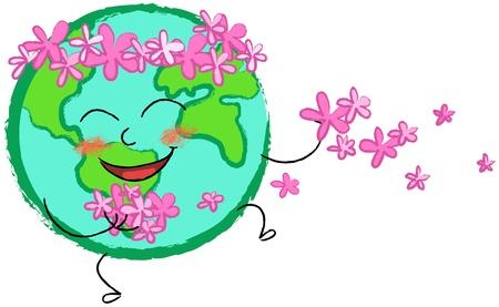 planeta tierra feliz: el planeta tierra feliz con flores de color rosa Foto de archivo