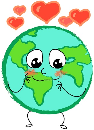 Planet earth in love with red hearts Stock Photo - 11557790