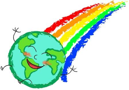 planeta tierra feliz: el planeta tierra feliz en el arco iris